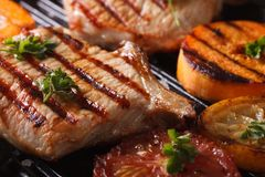 Grilled pork steak and vegetables on the grill. Horizontal macro Royalty Free Stock Photos
