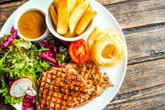 Grilled pork steak with vegetables salad and french fries stock photo