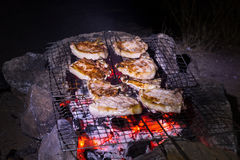 Grilled pork steaks. Royalty Free Stock Images