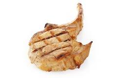 Grilled pork steaks on white. Background Stock Photo