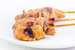 Grilled pork on stick Stock Photo