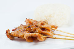 Grilled pork and sticky rice Royalty Free Stock Photography