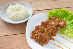 Grilled pork with sticky rice Stock Image