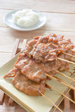 Grilled pork with sticky rice Royalty Free Stock Image