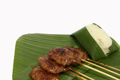Grilled pork with sticky rice Stock Photos