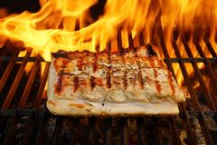 Grilled Pork Striploin and BBQ Flames,  XXXL Royalty Free Stock Image