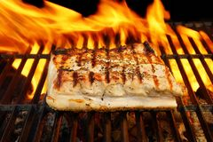 Grilled Pork Striploin and BBQ Flames,  XXXL Stock Photos