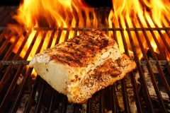 Grilled Pork Striploin and BBQ Flames,  XXXL Royalty Free Stock Photos