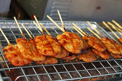 Grilled pork with wood stick Royalty Free Stock Image