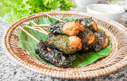 Grilled pork wraps with leaf, Vietnamese cuisine Stock Image