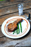 Grilled porkchop on the bone Royalty Free Stock Image