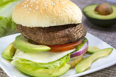 Grilled portabella burger. Stock Images