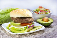 Grilled portabella burger. Royalty Free Stock Images