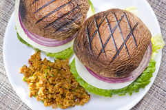 Grilled portabella burger. Stock Image