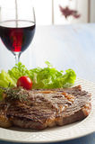 Grilled Porterhouse With Salad Stock Photo