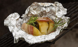Grilled potato with bacon Stock Image