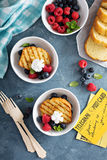 Grilled pound cake with fresh berries Royalty Free Stock Images