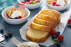 Grilled pound cake with fresh berries. For an oudoor summer party on 4th of July Stock Photos
