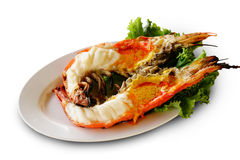 Grilled prawn river Stock Images