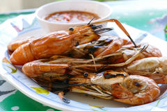 Grilled prawn or roasted shrimp Stock Photo