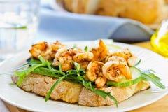 Grilled Prawn sandwich stock photos