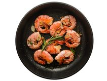Grilled Prawn Shrimps In Pan Isolated On White Royalty Free Stock Photo