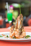 Grilled prawn with spicy sauce Royalty Free Stock Image