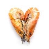 Grilled prawn were arranged heart shape on white background Stock Photo