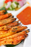 Grilled Prawns And Sauce Royalty Free Stock Photo