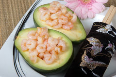 Grilled prawns in avocado Royalty Free Stock Photos