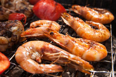 Grilled prawns on the barbecue rack at the garden party Stock Image