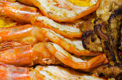 Grilled Prawns and Chicken Stock Image