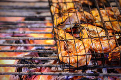 Grilled prawns on flaming Royalty Free Stock Photo