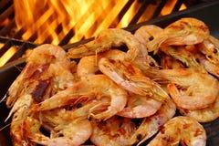 Grilled Prawns on open BBQ fire, XXXL Royalty Free Stock Photos