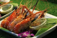 Grilled prawns in plastic foam plate and banana leaves with seafood dipping sauce. Ready to serve seafood royalty free stock photography