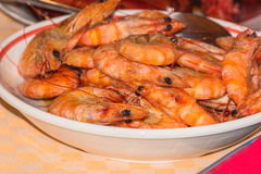 Grilled prawns on a plate. Royalty Free Stock Image