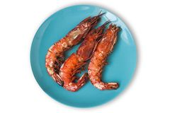 Grilled prawns on a plate isolated Royalty Free Stock Photography