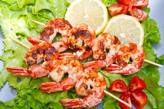Grilled prawns with salad and cherry tomatoes Stock Image