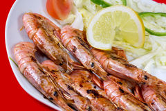 Grilled prawns. With salad decorated with lemon slice Royalty Free Stock Photos