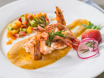 Grilled Prawns with Salsa fruit Salad Royalty Free Stock Images