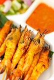 Grilled prawns and sauce in Thai style Stock Photo