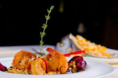 Grilled prawns and scallop with rice Royalty Free Stock Image