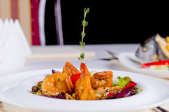 Grilled prawns and scallop with rice Royalty Free Stock Photography