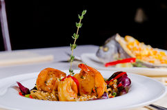 Grilled prawns and scallop with rice Stock Photography