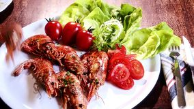 Grilled prawns stock video footage
