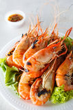 Grilled prawns with seafood sauce Stock Photo
