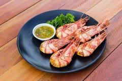 Grilled prawns with seafood sauce Stock Photos