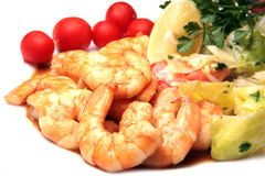 Grilled prawns served with lettuce Stock Image