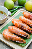 Grilled prawns served with spicy sauce Royalty Free Stock Photos