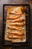 Grilled prawns on skewers Royalty Free Stock Images